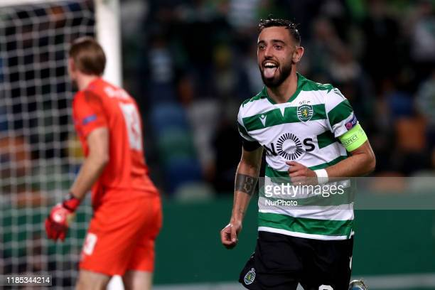 Bruno Fernandes of Sporting CP celebrates after scoring a goal during the UEFA Europa League Group D football match between Sporting CP and PSV...