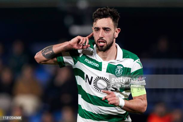 Bruno Fernandes of Sporting CP celebrates his team opening goal during the UEFA Europa League Round of 32 Second Leg match between Villarreal v...