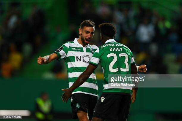 Bruno Fernandes of Sporting CP celebrates scoring Sporting CP second goal Abdoulay Diaby of Sporting CP during the Liga NOS round 8 match between...