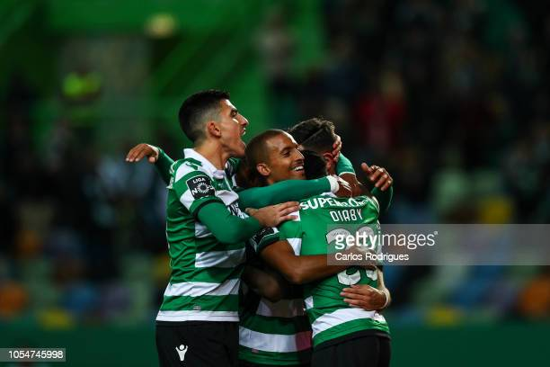 Bruno Fernandes of Sporting CP celebrates scoring Sporting CP second goal with his team mates during the Liga NOS round 8 match between Sporting CP...