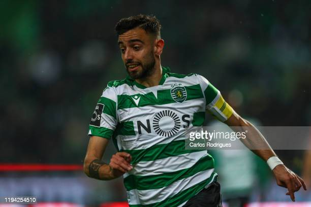 Bruno Fernandes of Sporting CP in action during the Liga Nos round 17 match between Sporting CP and SL Benfica at Estadio Jose Alvalade on January 18...