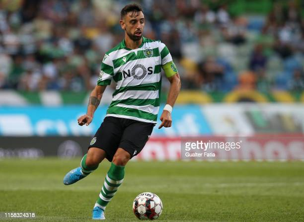 Bruno Fernandes of Sporting CP in action during the PreSeason Friendly match between Sporting CP and Valencia CF at Estadio Jose Alvalade on July 28...
