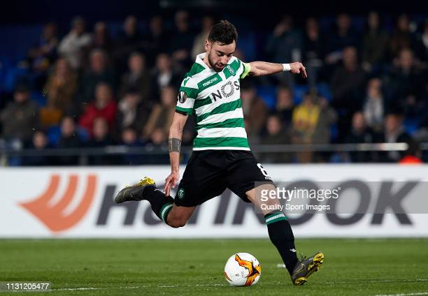 Bruno Fernandes of Sporting CP kicks the ball to score his team opening goal during the UEFA Europa League Round of 32 Second Leg match between...