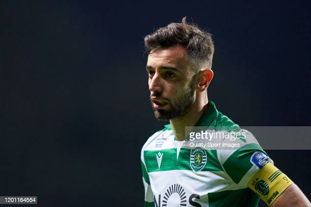 Bruno Fernandes of Sporting CP looks on during the Taca da Liga Allianz CUP semifinal match between SC Braga and Sporting CP at Estadio Municipal de...