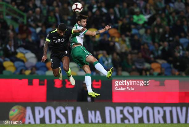 Bruno Fernandes of Sporting CP with Matheus Reis of Rio Ave FC in action during the Portuguese Cup match between Sporting CP and Rio Ave FC at...