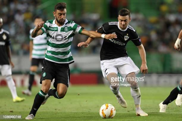 Bruno Fernandes of Sporting FC vies for the ball with Gara Garayev of Karaba FC during UEFA Europa League 2018/19 football match between Sporting CP...