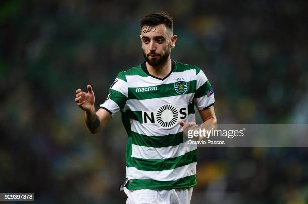 Bruno Fernandes of Sporting Lisbon in action during the UEFA Europa League Round of 16 first leg match between Sporting Lisbon and Viktoria Plzen at...