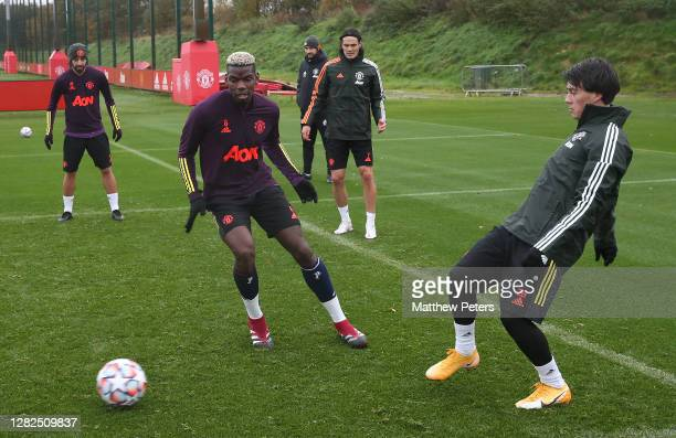 Bruno Fernandes Paul Pogba Edinson Cavani Facundo Pellistri of Manchester United in action during a first team training session ahead of the UEFA...