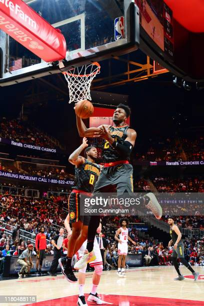 Bruno Fernando of the Atlanta Hawks rebounds the ball during the game against the Chicago Bulls on November 6, 2019 at State Farm Arena in Atlanta,...