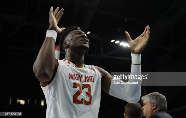 Bruno Fernando of the Maryland Terrapins celebrates a 7977 win against the Belmont Bruins during the first round of the 2019 NCAA Men's Basketball...