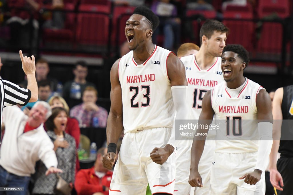 Bruno Fernando #23 of the Maryland Terrapins celebrates a dunk during a college basketball game against the Iowa Hawkeyes at the XFinity Center on January 7, 2018 in College Park, Maryland.