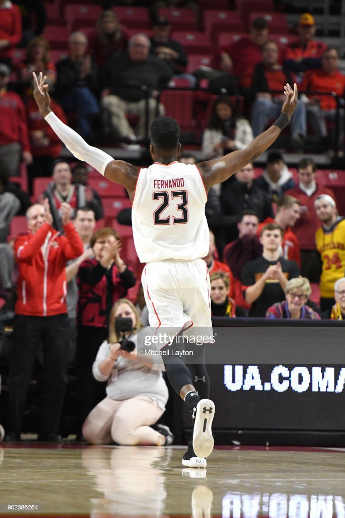 Bruno Fernando #23 of the Maryland Terrapins celebrates a win after a college basketball game against the Iowa Hawkeyes at the XFinity Center on January 7, 2018 in College Park, Maryland.