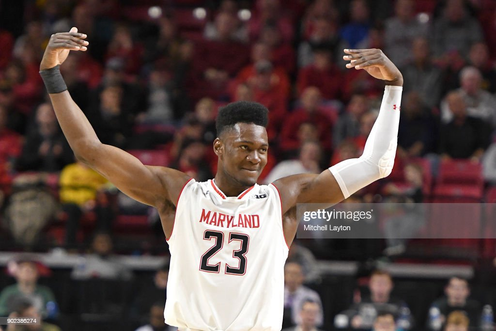 Bruno Fernando #23 of the Maryland Terrapins celebrates during a college basketball game against the Iowa Hawkeyes at the XFinity Center on January 7, 2018 in College Park, Maryland.