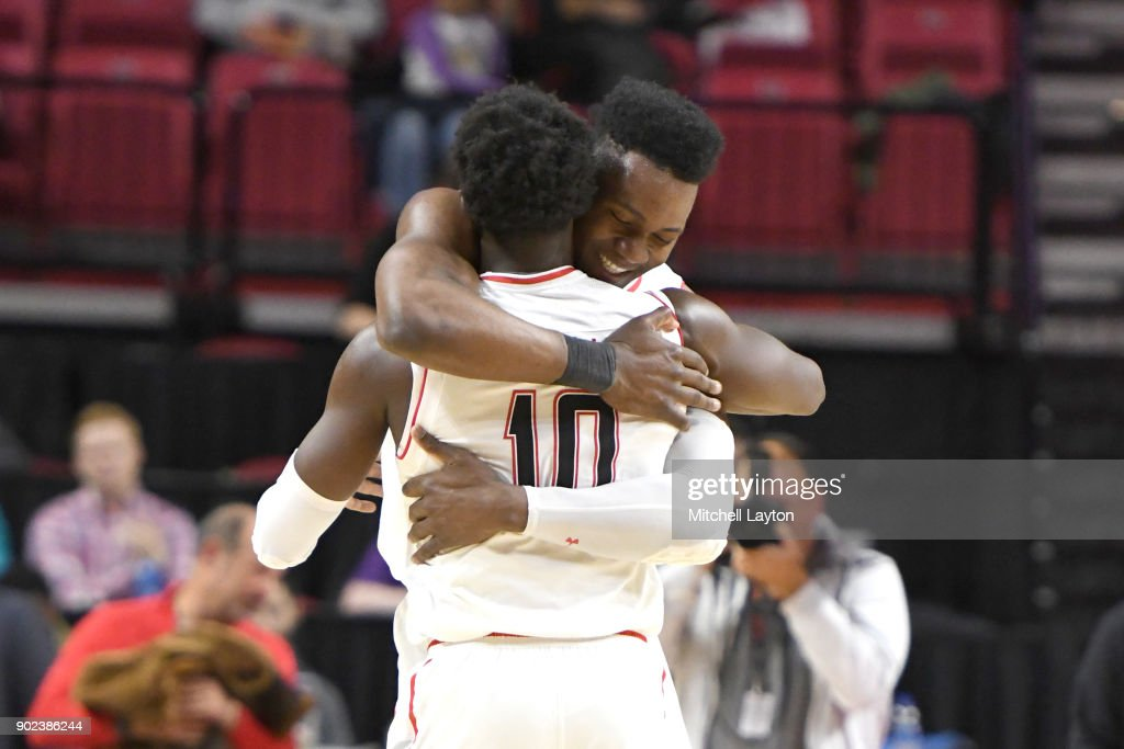 Bruno Fernando #23 of the Maryland Terrapins celebrates win with Anthony Cowan #10 during a college basketball game against the Iowa Hawkeyes at the XFinity Center on January 7, 2018 in College Park, Maryland.