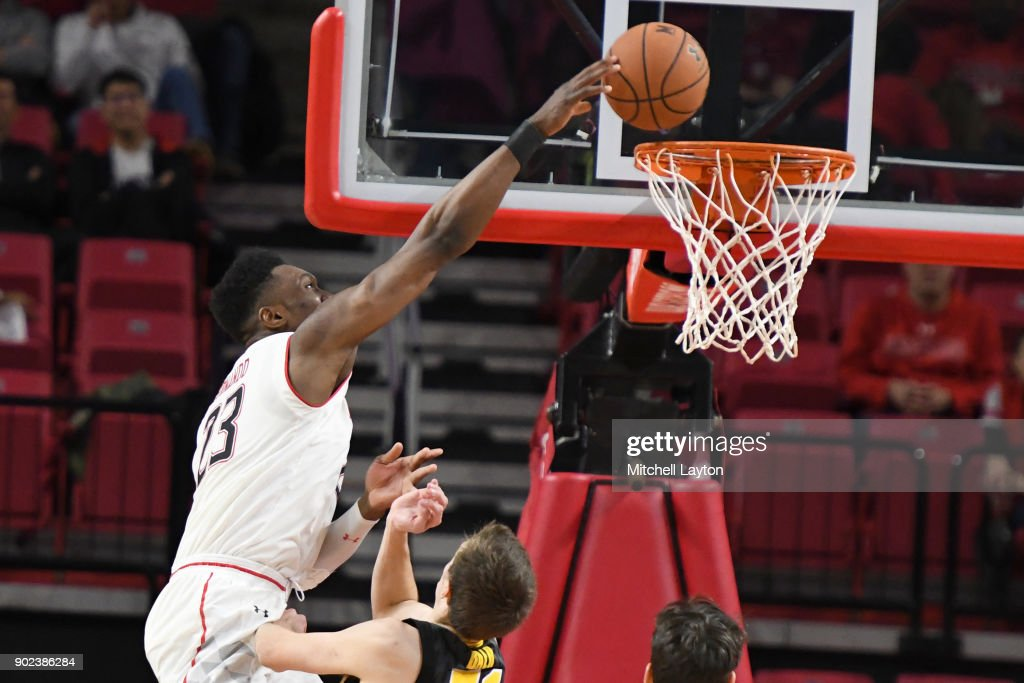 Bruno Fernando #23 of the Maryland Terrapins makes a dunk during a college basketball game against the Iowa Hawkeyes at the XFinity Center on January 7, 2018 in College Park, Maryland.