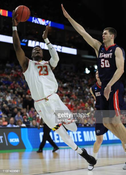 Bruno Fernando of the Maryland Terrapins takes a shot against Seth Adelsperger of the Belmont Bruins in the first half during the first round of the...