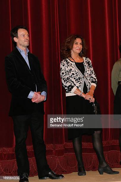 Bruno Finck and Fabienne Servan Schreiber attend Homage To French Actor JeanClaude Brialy at Theatre des Bouffes Parisiens with the screening of...