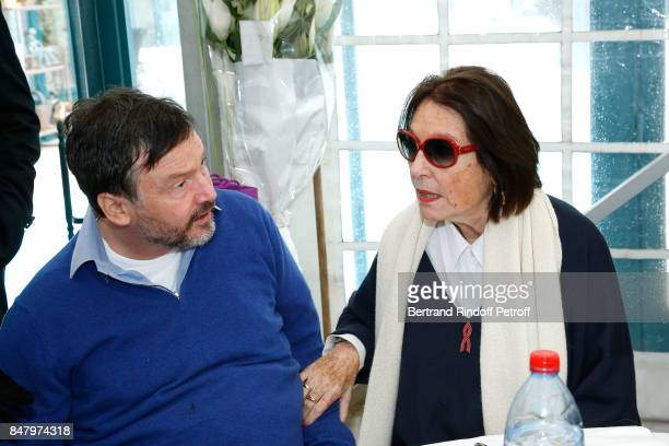 Bruno Finck and Nana Mouskouri attend the Garden Party organized by Bruno Finck companion of JeanClaude Brialy at Chateau De Monthyon on September 16...