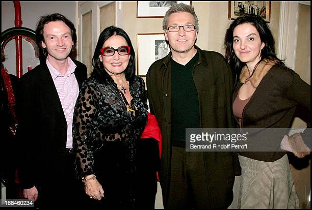 Bruno Finck Nana Mouskouri Laurent Ruquier and Peri Cochin at Theatre Production Of Open Bed Playing At Bouffes Parisiens
