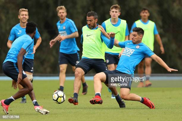 Bruno Fornaroli and Manny Muscat of Melbourne City contest the ball during a Melbourne City FC ALeague training session at City Football Academy on...