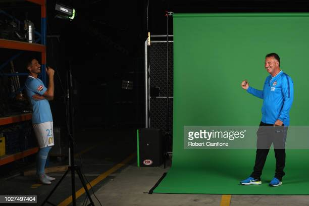 Bruno Fornaroli laughs at Melbourne City coach Warren Joyce during the Melbourne City 2018/19 ALeague season headshots session at Fox Sports Studios...