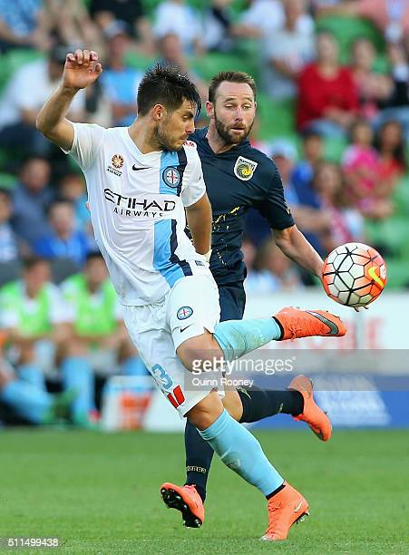 Bruno Fornaroli of City kicks the ball during the round 20 ALeague match between Melbourne City FC and the Central Coast Mariners at AAMI Park on...