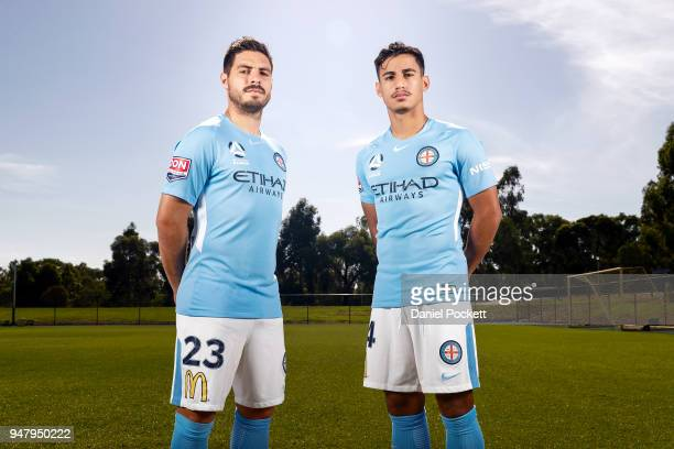Bruno Fornaroli of Melbourne City and Daniel Arzani of Melbourne City pose for a photo during a Melbourne City FC ALeague media opportunity at City...