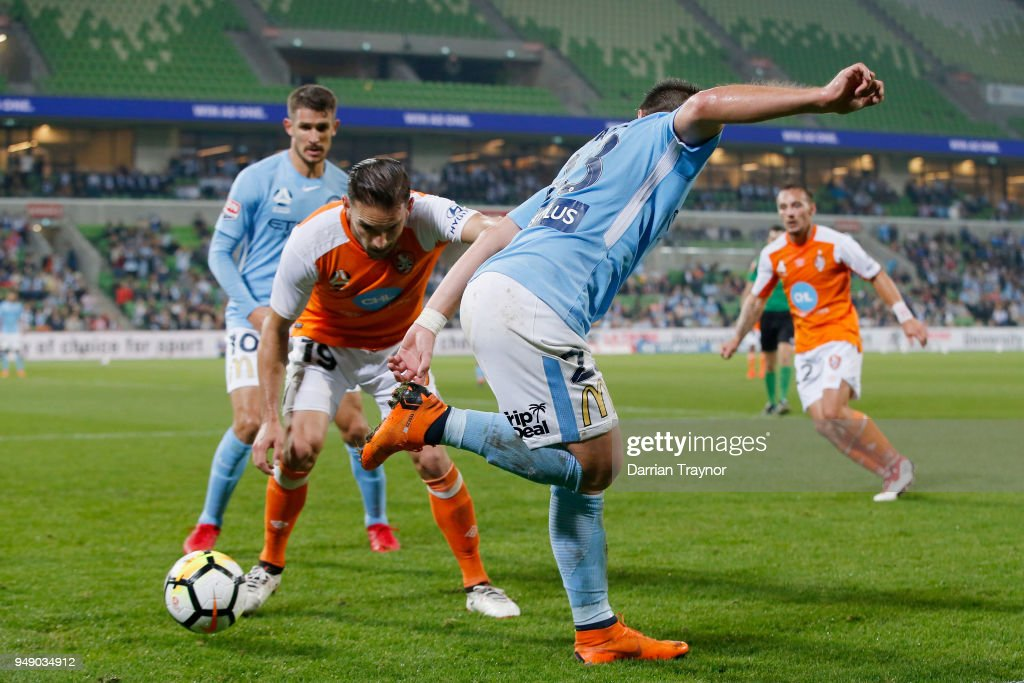 Bruno Fornaroli of Melbourne City back heals a pass during the A-League Elimination Final match between the Melbourne City and the Brisbane Roar at AAMI Park on April 20, 2018 in Melbourne, Australia.