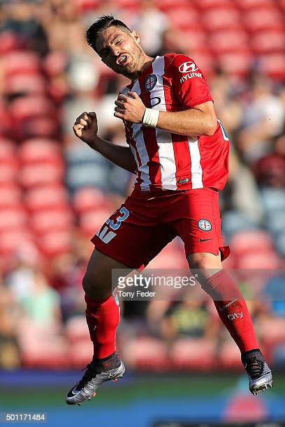 Bruno Fornaroli of Melbourne City celebrates a goal during the ALeague match between the Newcastle Jets and Melbourne City FC at Hunter Stadium on...