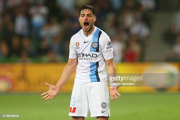 Bruno Fornaroli of Melbourne City celebrates a goal during the round 22 ALeague match between Melbourne City FC and Sydney FC at AAMI Park on March 5...