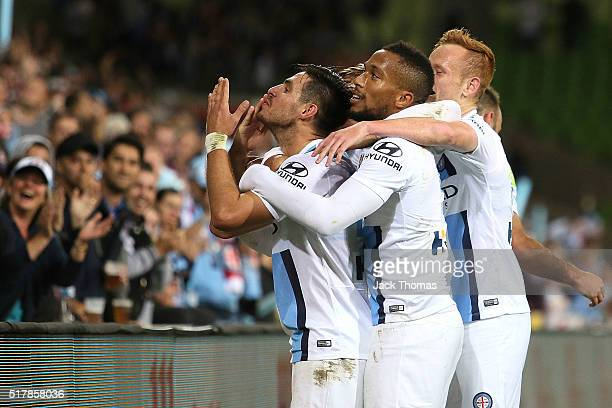 Bruno Fornaroli of Melbourne City celebrates a goal during the round 25 ALeague match between Melbourne City FC and the Wellington Phoenix at AAMI...
