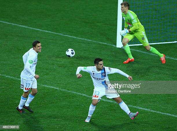 Bruno Fornaroli of Melbourne City celebrates after scoring a goal during the FFA Cup Round of 16 match between Melbourne City FC and Wellington...