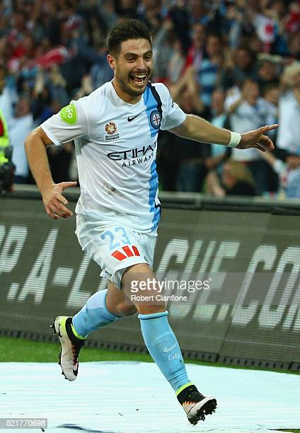 Bruno Fornaroli of Melbourne City celebrates after scoring a goal during the ALeague Elimination Final match between Melbourne City FC and Perth...