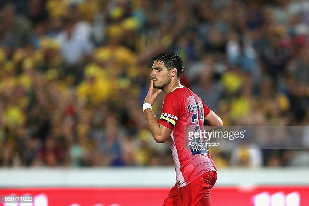 Bruno Fornaroli of Melbourne City celebrates his goal during the round 13 ALeague match between the Central Coast Mariners and Melbourne City at...