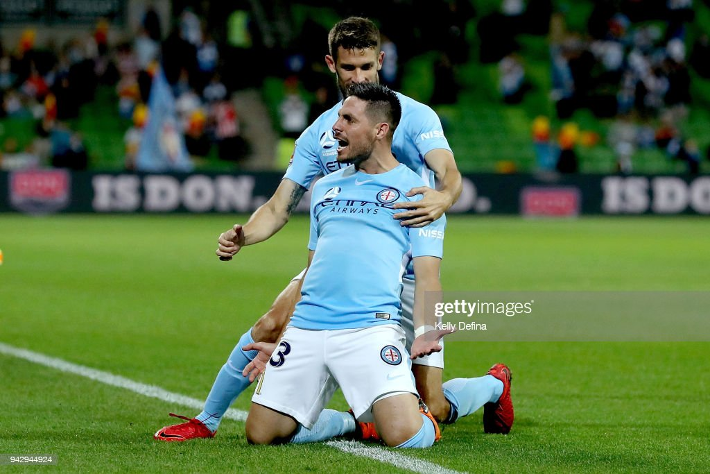 Bruno Fornaroli of Melbourne City celebrates his goal during the round 26 A-League match between Melbourne City and the Central Coast Mariners at AAMI Park on April 7, 2018 in Melbourne, Australia.