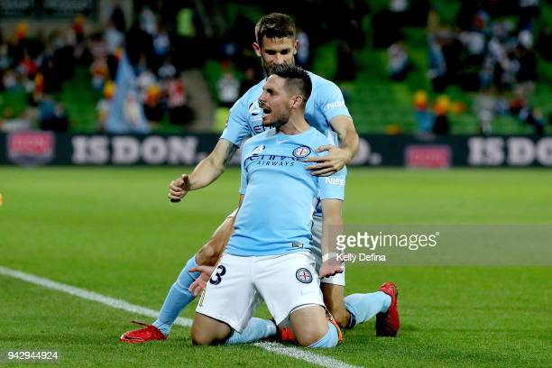 Bruno Fornaroli of Melbourne City celebrates his goal during the round 26 ALeague match between Melbourne City and the Central Coast Mariners at AAMI...