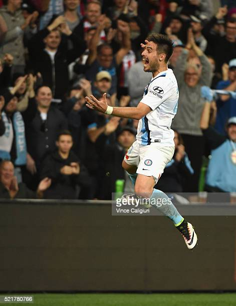 Bruno Fornaroli of Melbourne City celebrates his second goal during the ALeague Elimination Final match between Melbourne City FC and Perth Glory at...