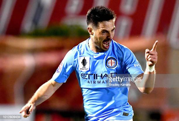 Bruno Fornaroli of Melbourne City celebrates kicking a goal during the FFA Cup round of 32 match between Brisbane Roar and Melbourne City at Dolphin...
