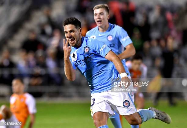 Bruno Fornaroli of Melbourne City celebrates scoring a goal during the FFA Cup round of 32 match between Brisbane Roar and Melbourne City at Dolphin...