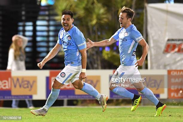 Bruno Fornaroli of Melbourne City celebrates scoring his side's match winning goal during the FFA Cup round of 32 match between Brisbane Roar and...