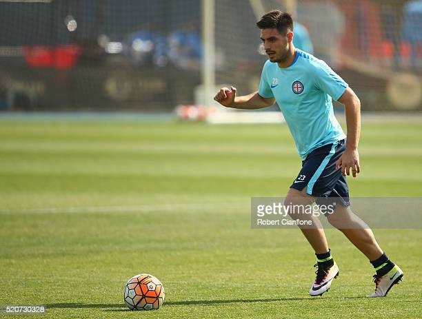 Bruno Fornaroli of Melbourne City controls the ball during a Melbourne City ALeague training session at City Football Academy on April 13 2016 in...