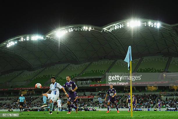 Bruno Fornaroli of Melbourne City controls the ball during the ALeague Elimination Final match between Melbourne City FC and Perth Glory at AAMI Park...