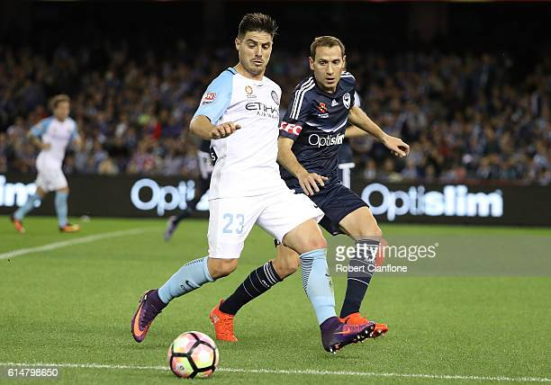 Bruno Fornaroli of Melbourne City controls the ball during the round two ALeague match between Melbourne Victory and Melbourne City FC at Etihad...