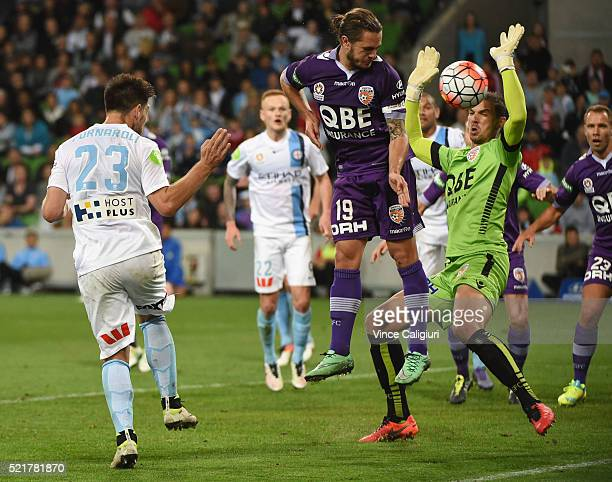 Bruno Fornaroli of Melbourne City headers the ball but is saved by Perth Glory goalkeeper Ante Covic during the ALeague Elimination Final match...
