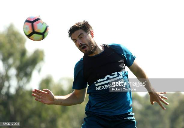 Bruno Fornaroli of Melbourne City heads the ball during a Melbourne City ALeague training session at City Football Academy on April 19 2017 in...
