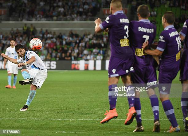 Bruno Fornaroli of Melbourne City takes a free kick and scores his second goal during the ALeague Elimination Final match between Melbourne City FC...