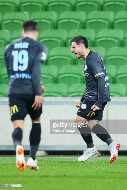 Bruno Fornaroli of the City celebrates a goal during the FFA Cup round of 16 match between Melbourne City and Newcastle Jets at AAMI Park on August...