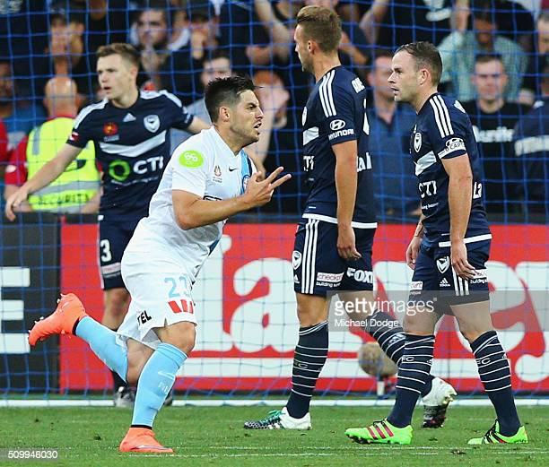 Bruno Fornaroli of the City celebrates a goal during the round 19 ALeague match between Melbourne City FC and Melbourne Victory at AAMI Park on...