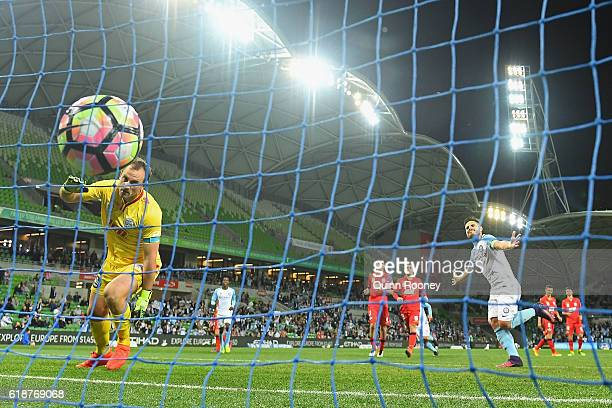 Bruno Fornaroli of the City celebrates a goal during the round four ALeague match between Melbourne City and Adelaide United at AAMI Park on October...