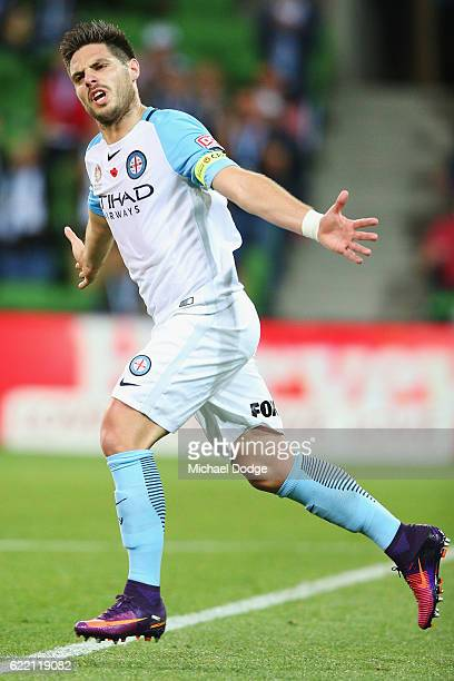 Bruno Fornaroli of the City celebrates a goal during the round six ALeague match between Melbourne City FC and Newcastle Jets at AAMI Park on...